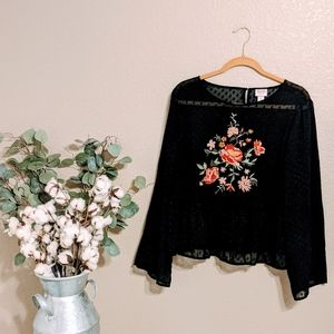 Mossimo Black Floral Swiss For Blouse Sz XL